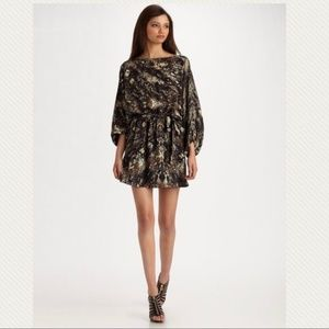 Parker Dolman Black Silk Snake Print Dress Batwing